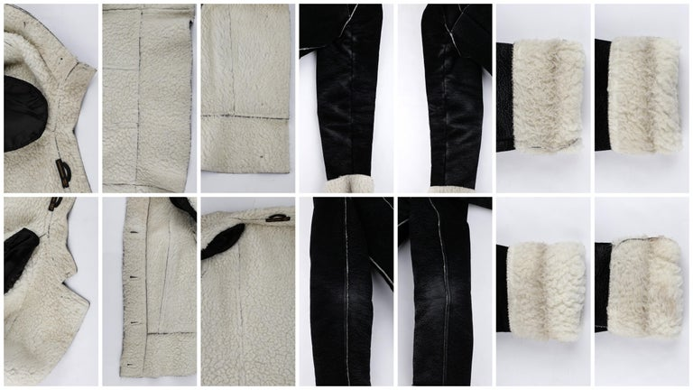 ALEXANDER McQUEEN A/W 1999 Black Cream Shearling Sherpa Panel Jacket Coat  For Sale 5