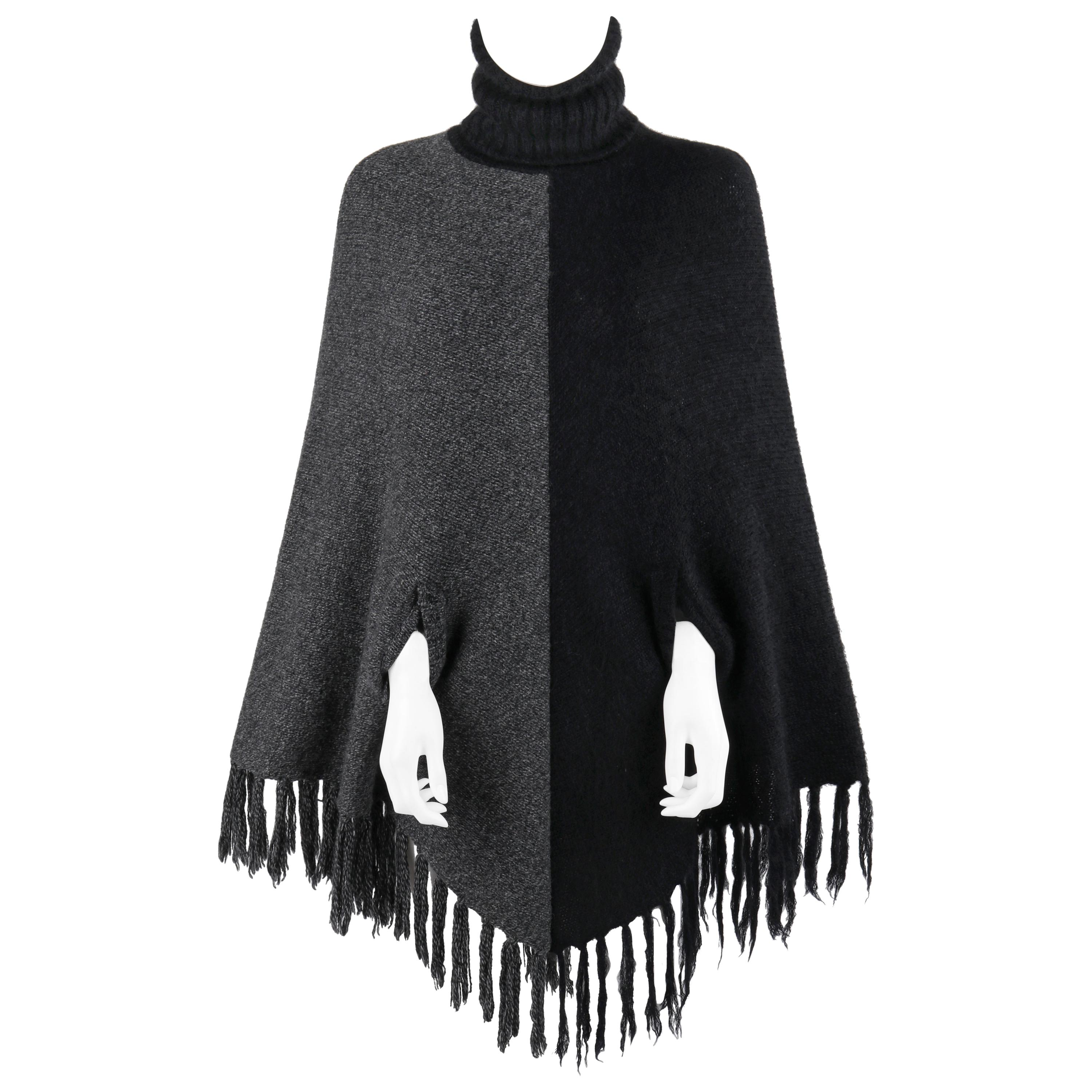 """ALEXANDER McQUEEN A/W 1999 """"The Overlook"""" Black Gray Knit Turtleneck Poncho Cape"""