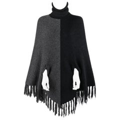 "ALEXANDER McQUEEN A/W 1999 ""The Overlook"" Black Gray Knit Turtleneck Poncho Cape"