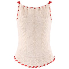 "ALEXANDER McQUEEN A/W 1999 ""The Overlook"" Cream Knit Ribbon Stitched Tank Top"