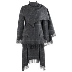 "ALEXANDER McQUEEN A/W 1999 ""The Overlook"" Gray Check Fringe Jacket Skirt Set"