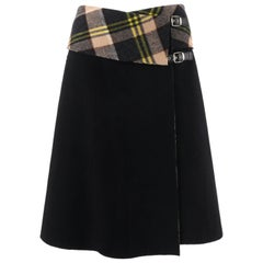 "ALEXANDER McQUEEN A/W 2000 ""Eshu"" Black & Plaid Boiled Wool Fold Top Wrap Skirt"