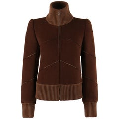"ALEXANDER McQUEEN A/W 2000 ""Eshu"" Brown Wool Chevron Panel Jacket"