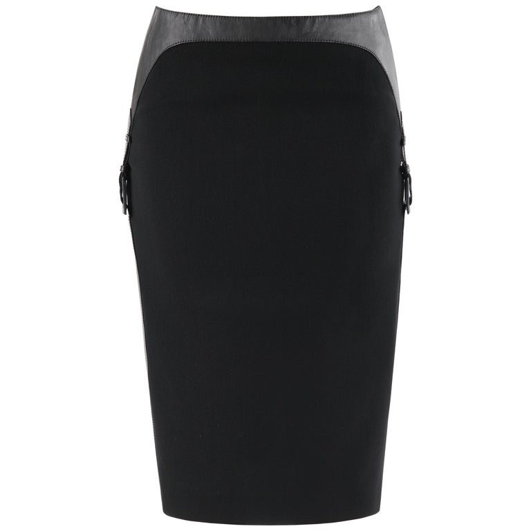 "ALEXANDER McQUEEN A/W 2002 ""Supercalifragilistic"" Leather Buckle Pencil Skirt For Sale"