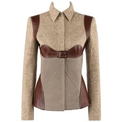 "ALEXANDER McQUEEN A/W 2002 ""Supercalifragilistic"" Tweed & Leather Harness Jacket"