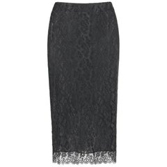 "ALEXANDER McQUEEN A/W 2003 ""Scanners"" Black Lace Exposed Zipper Pencil Skirt"
