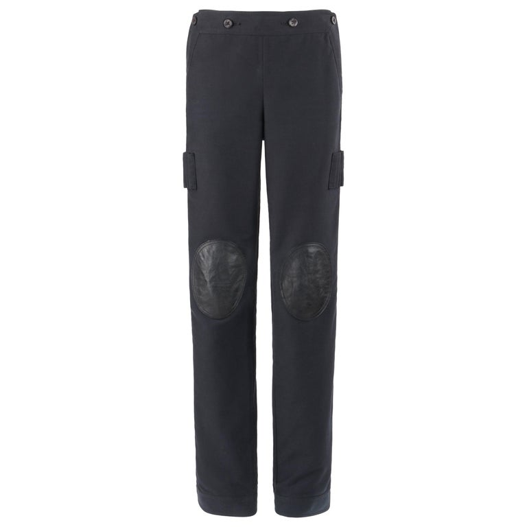 """ALEXANDER McQUEEN A/W 2003 """"Scanners"""" High Waisted Leather Knee Pad Cargo Pants For Sale"""