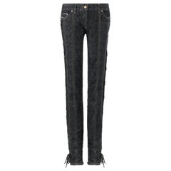"""ALEXANDER McQUEEN A/W 2002 """"Supercalifragilistic"""" Denim Lace Up Skinny Jeans"""