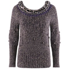 ALEXANDER McQUEEN A/W 2005 Scoop Neck Jumper Sweater With Pompom & Fringe Collar