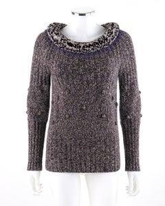 ALEXANDER McQUEEN A/W 2005 Scoop Neck Jumper Sweater With Pompom & Fringe Collar
