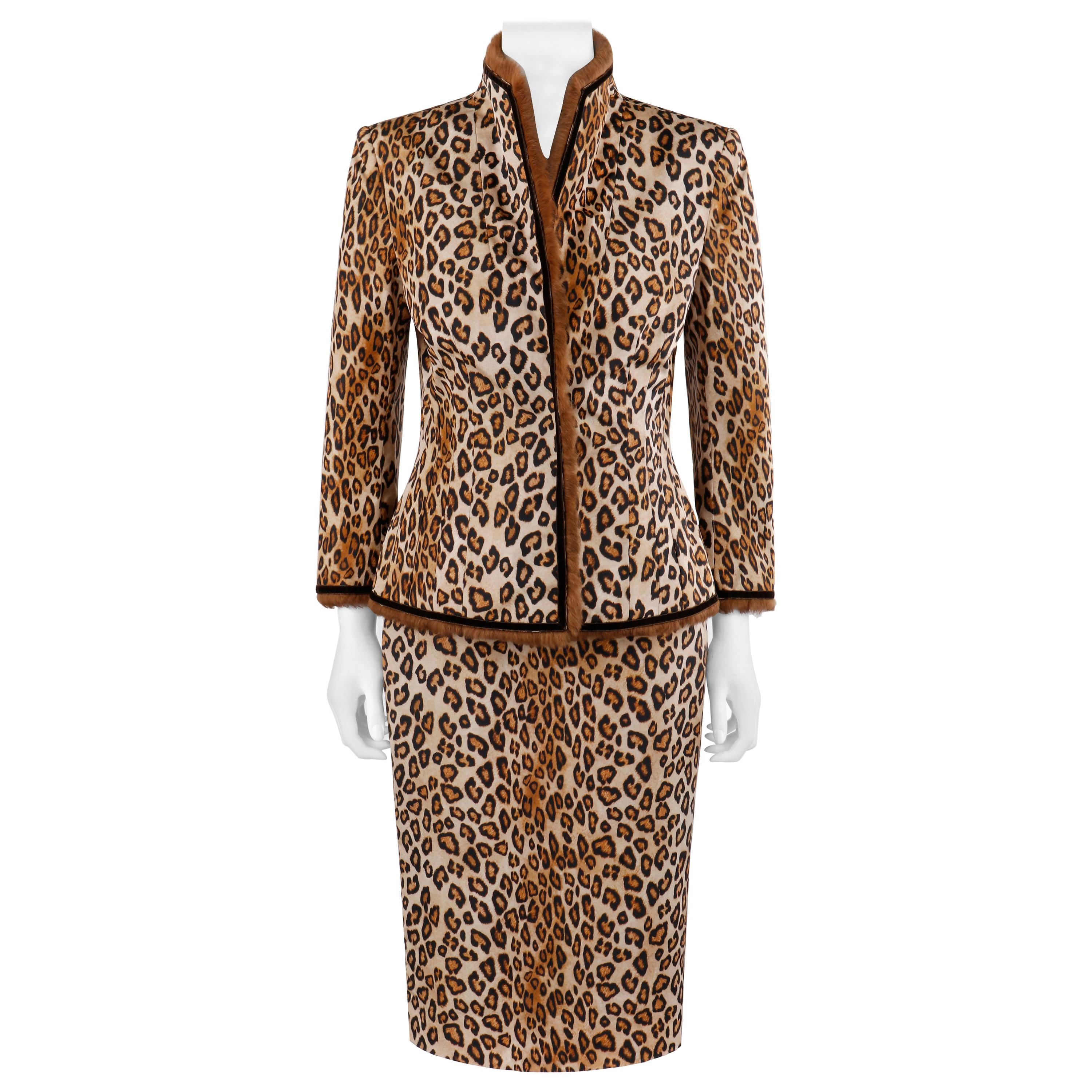 """Alexander McQueen A/W 2005 """"The Man Who Knew Too Much"""" Leopard Fur Jacket Skirt"""