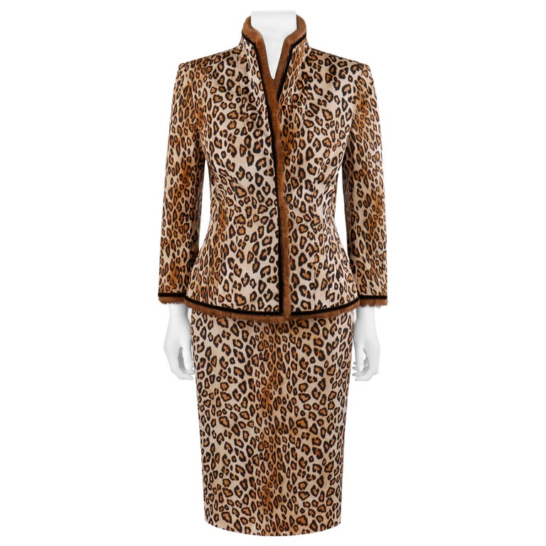 """Alexander McQueen A/W 2005 """"The Man Who Knew Too Much"""" Leopard Fur Jacket Skirt For Sale"""