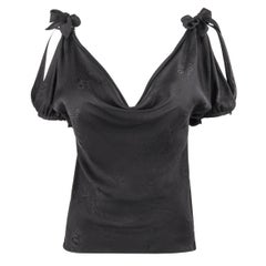 "ALEXANDER McQueen A/W 2006 ""Widows of Culloden"" Black Brocade Plunge Blouse Top"