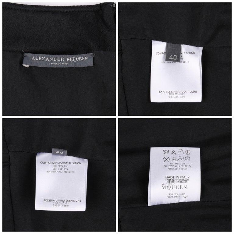 """ALEXANDER McQueen A/W 2006 """"Windows of Culloden"""" Black Brocade Birds Silk Dress For Sale 3"""