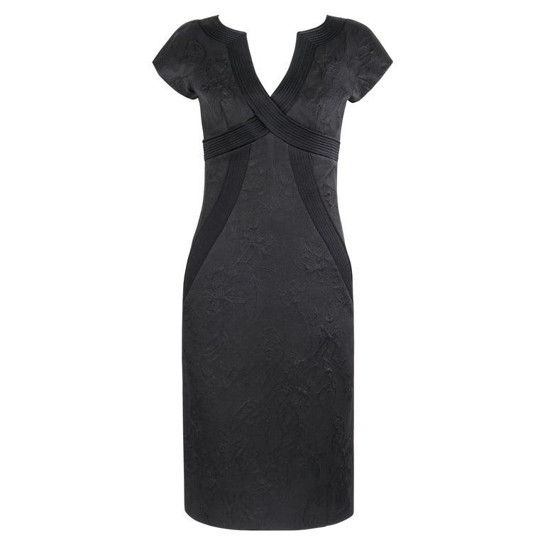 """ALEXANDER McQueen A/W 2006 """"Windows of Culloden"""" Black Brocade Birds Silk Dress For Sale"""
