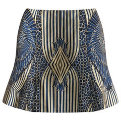 ALEXANDER McQUEEN A/W 2007 Runway feather patterned Navy Silk Brocade Skirt