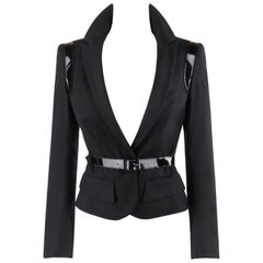 """ALEXANDER McQUEEN A/W 2007 """"Witches"""" Black Patent Leather Belted Blazer Jacket"""