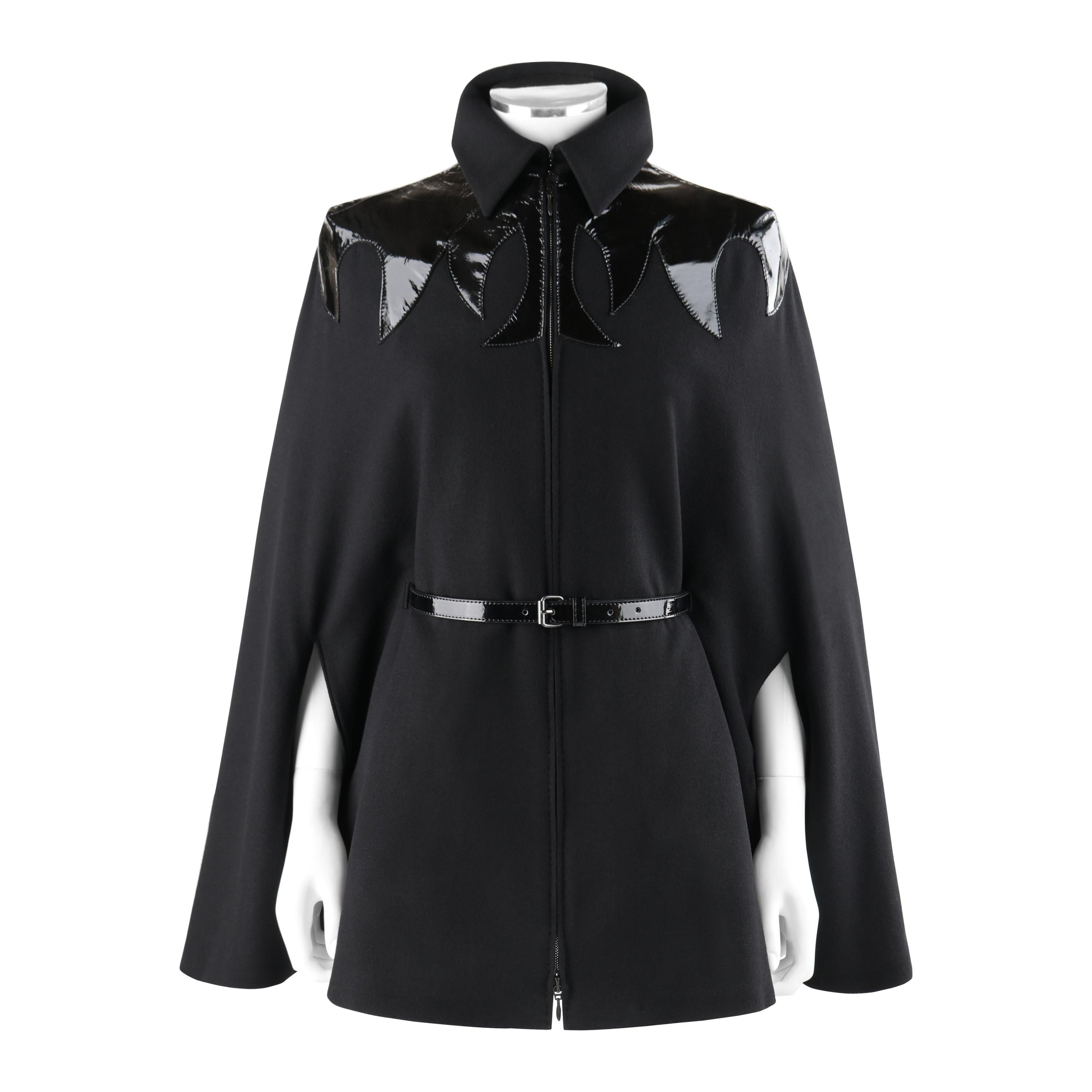 """ALEXANDER McQUEEN A/W 2007 """"Witches"""" Black Wool Patent Leather Mantel Cape Coat"""