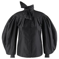ALEXANDER McQUEEN A/W 2008 Black Silk Pleated Long Bouffant Sleeve Blouse Top