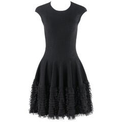 ALEXANDER McQUEEN A/W 2008 Floral Lace Knit Fit & Flare Ruffle Layer Skirt Dress