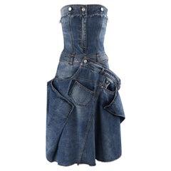 ALEXANDER McQUEEN A/W 2010 Patchwork Deconstructed Denim Jeans Strapless Dress