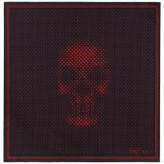 ALEXANDER McQUEEN A/W 2012 Black Red Pointillism Skull Pattern Silk Square Scarf