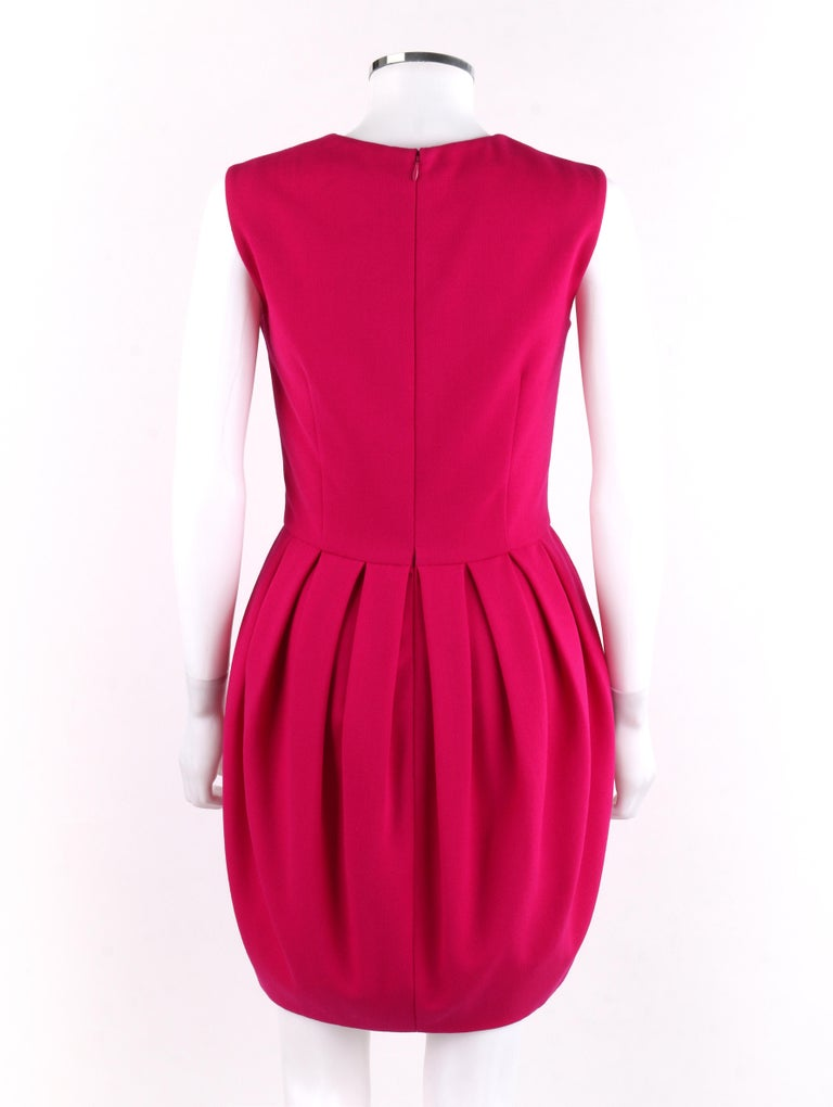 Women's ALEXANDER McQUEEN A/W 2012 Fuchsia Pink Wool Bubble Pegged Mini Dress Size 40  For Sale