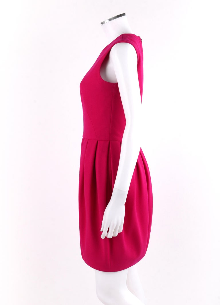 ALEXANDER McQUEEN A/W 2012 Fuchsia Pink Wool Bubble Pegged Mini Dress Size 40  For Sale 1