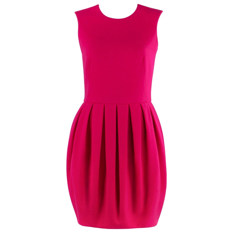 ALEXANDER McQUEEN A/W 2012 Fuchsia Pink Wool Bubble Pegged Mini Dress Size 40  For Sale