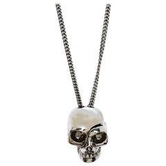 Alexander McQueen Antique Silver Tone Divided Skull Pendant Necklace