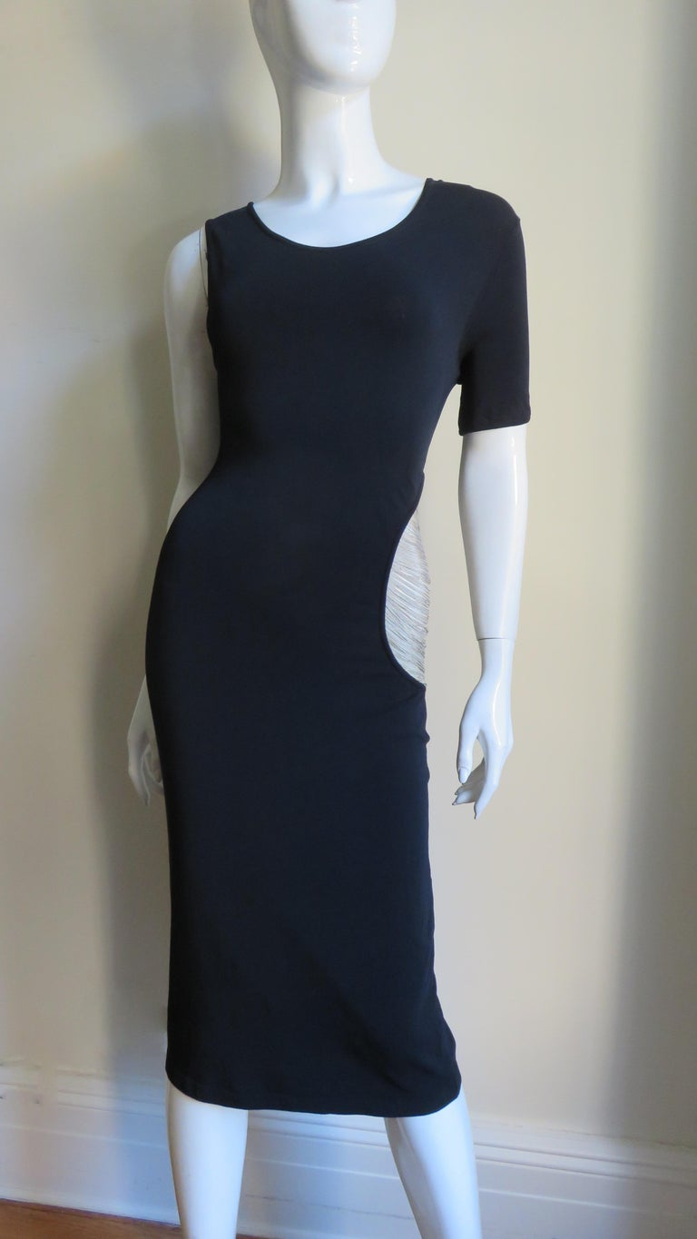 Alexander McQueen Asymmetric Dress with Chain Cut out For Sale 7