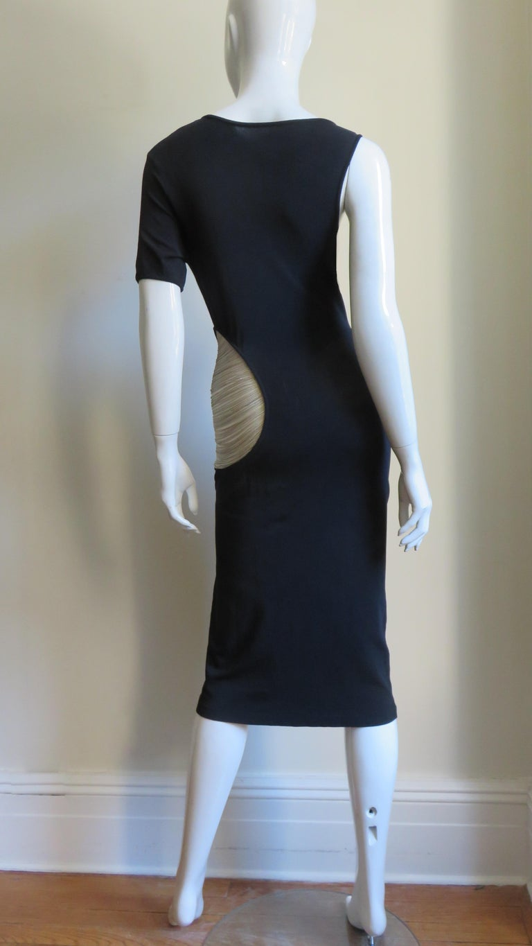 Alexander McQueen Asymmetric Dress with Chain Cut out For Sale 12