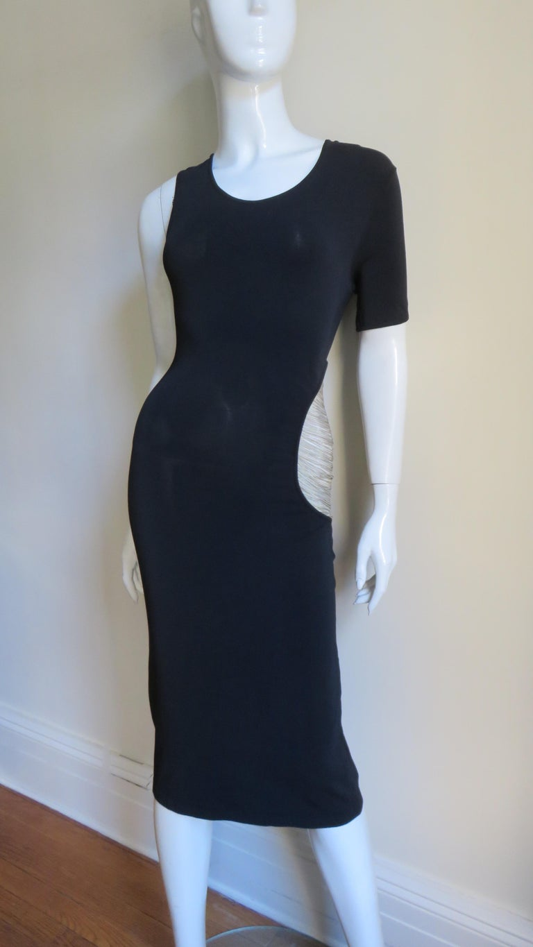 Women's Alexander McQueen Asymmetric Dress with Chain Cut out For Sale
