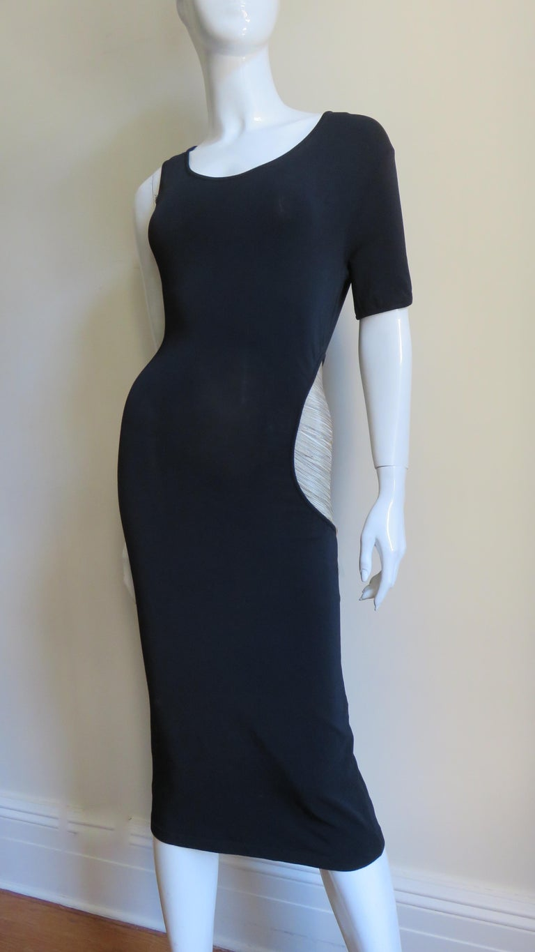 Alexander McQueen Asymmetric Dress with Chain Cut out For Sale 1