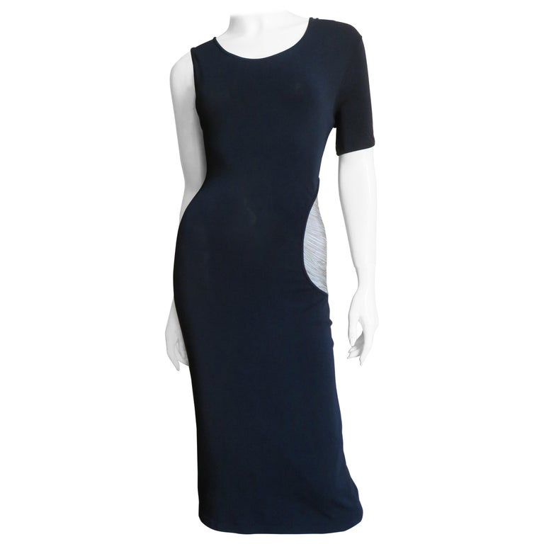 Alexander McQueen Asymmetric Dress with Chain Cut out For Sale
