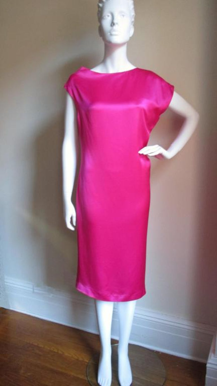 Red Alexander McQueen Asymmetric Neckline Silk Dress  For Sale
