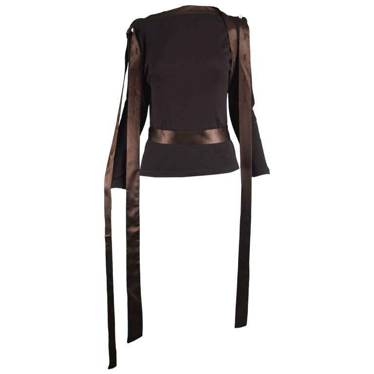 Alexander Mcqueen A/W 2000 'Eshu' Satin Ribbon & Cotton Jersey Bondage Top