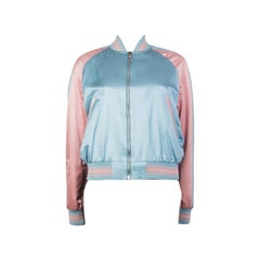 ALEXANDER MCQUEEN baby blue & pink EMBROIDERED Bomber Jacket 40