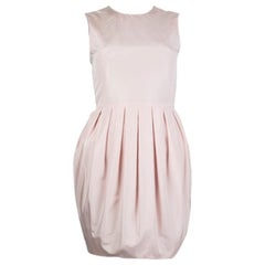 ALEXANDER MCQUEEN baby pink silk PLEATED BALLOON Dress 36