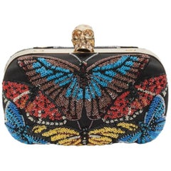 Alexander McQueen Beaded Butterfly Embroidered Classic Clutch Bag
