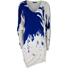 Alexander McQueen Beige & Blue Splatter Sweater Dress