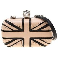 Alexander McQueen Beige/Black Leather Patchwork Britannia Skull Box Clutch