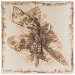ALEXANDER MCQUEEN beige cotton cashmere silk MOTH Scarf
