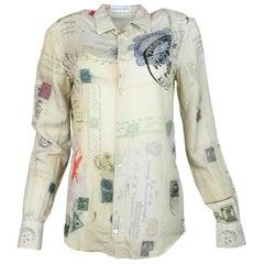 Alexander McQueen Beige Cotton/Silk Longsleeve Postcard Blouse Sz S
