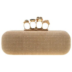 Alexander McQueen Beige Nubuck Leather Studded Skull Knuckle Clutch
