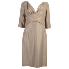 ALEXANDER MCQUEEN beige wool SHIMMER 3/4 Sleeve Dress 44