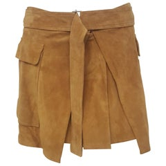 Alexander McQueen Belted Mustard Suede Short Pleated Skirt 44 EU