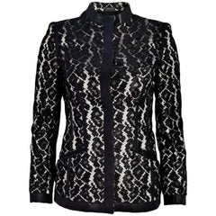 Alexander McQueen Black & White Lace & Leather Jacket Sz IT38