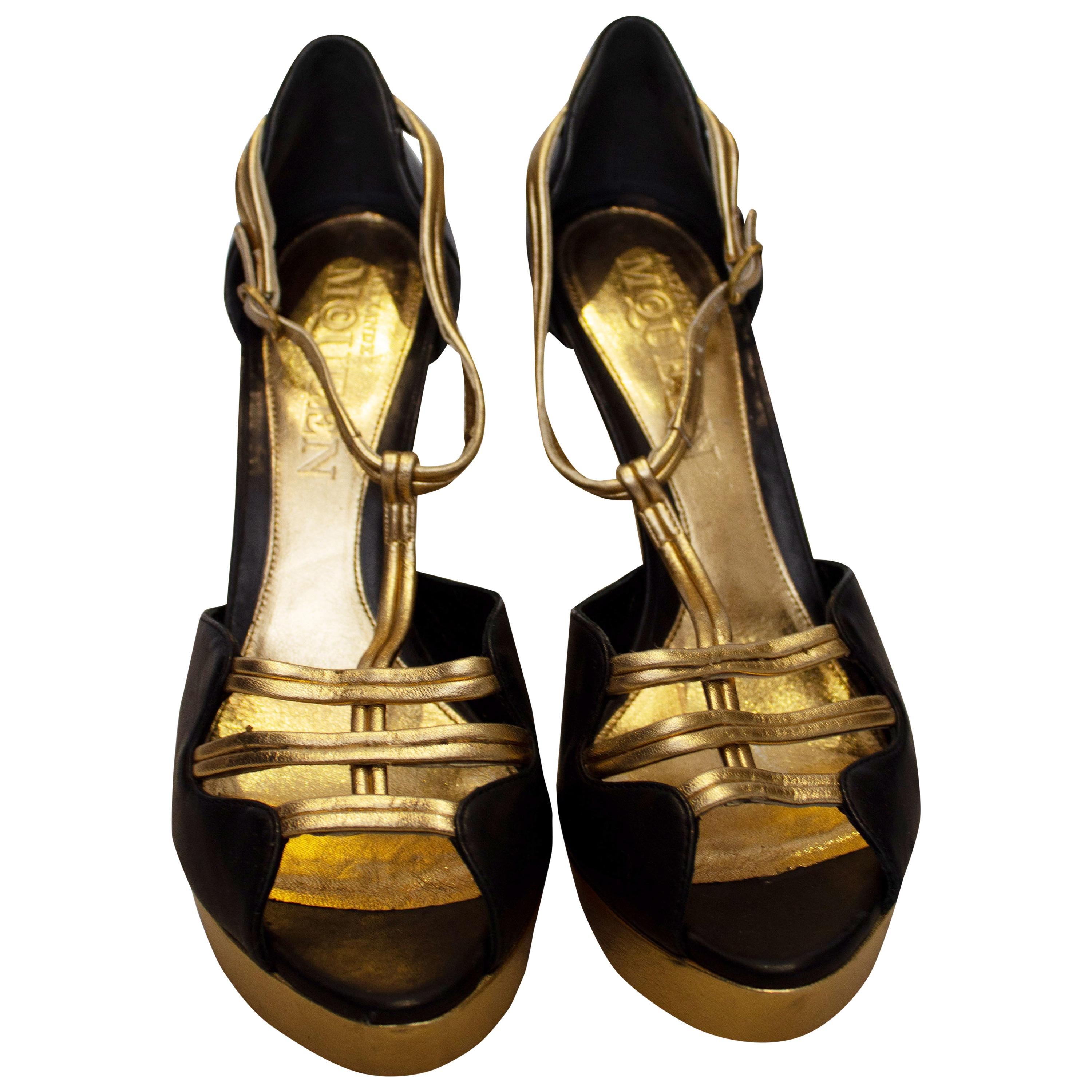 Alexander McQueen Black and Gold Shoes