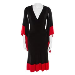 Alexander McQueen Black and Red Cutout Draped Sleeve Detail Dress M